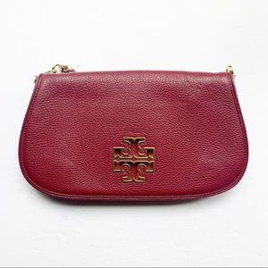 Tory Burch Leather Crossbody Pocketbook In Garnet